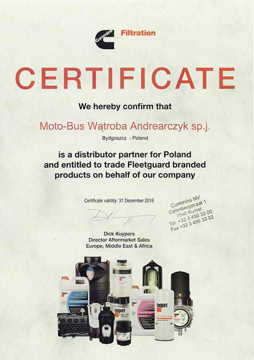 MOTOBUS - Certyfikat filtry